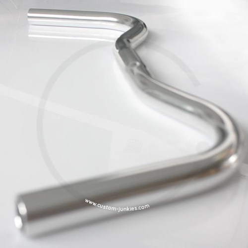 Flat Moustache Handlebar | Width 495mm | Clamp 25.4 | silver polished