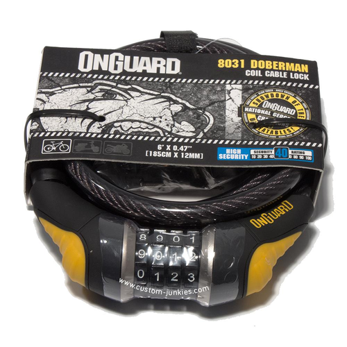 Onguard Dobermann Combo #8031 | Combination Coiled Cable Lock 185cm x 12mm