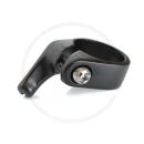 Sattelklemme CNC mit Bremskabelgegenhalter | Alu schwarz - 34.9mm