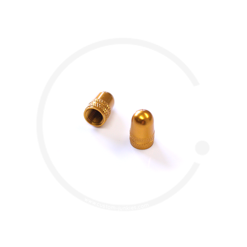 Ventilkappen | Alu eloxiert | für Autoventil (AV) | 2 Stück - gold