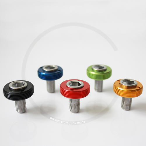 Crank Bolts with Anodized Alloy Dust Cap | Square Taper | MTB/Road