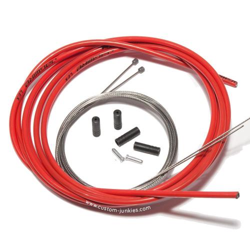 Jagwire Schaltzug Set komplett | Jagwire LEX Außenhülle & Niro Schaltzüge - rot