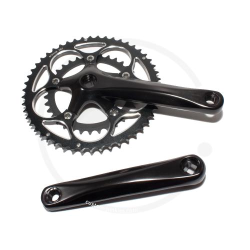 Kompakt Kurbelsatz *8219* 2-fach 50/34  | LK 110mm | Vierkant JIS - schwarz, 175mm