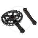 Stronglight Double Crank Set *Impact Compact* Black | 110mm BCD | Square Taper JIS