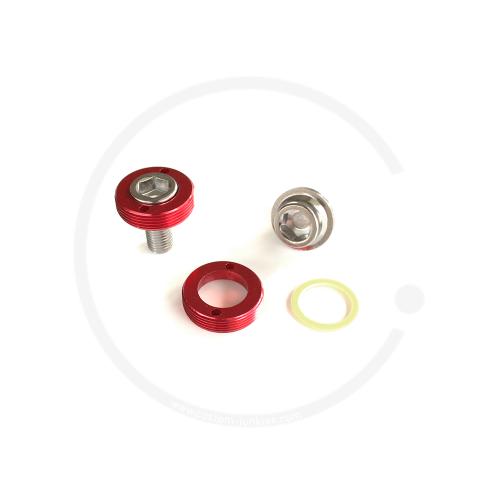 Kurbelschrauben mit farbiger Alukappe   Vierkant - rot