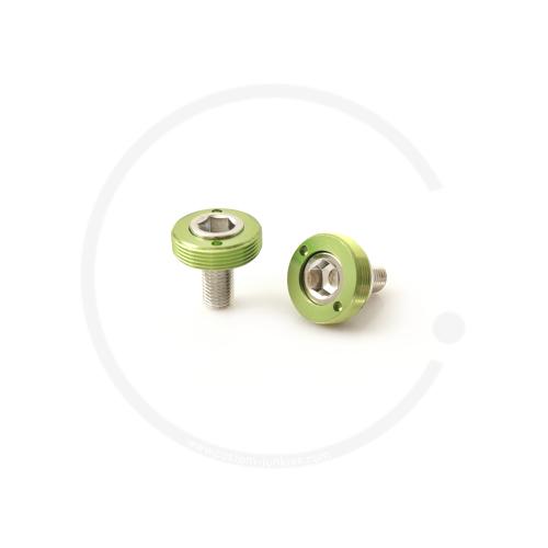 Kurbelschrauben mit farbiger Alukappe | Vierkant - grün