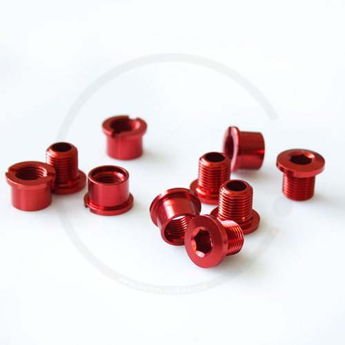 Double Alloy Chainring Bolts - red