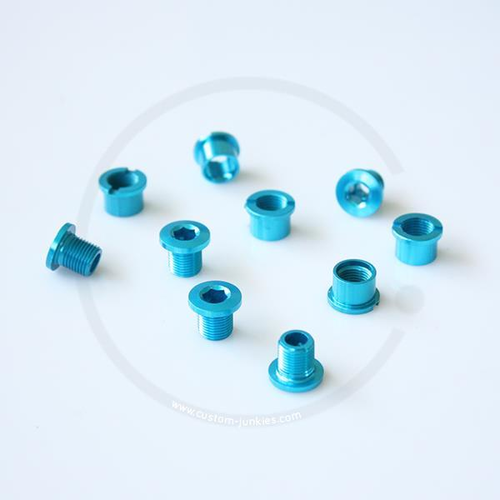 Double Alloy Chainring Bolts - turquoise blue