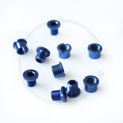 Kettenblattschrauben 2-fach   8mm   Alu - dunkelblau